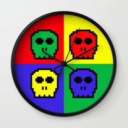 8-bit Four Color Skulls - Pixel Art Wall Clock