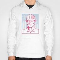 engineer Hoodies featuring Construction Engineer Worker Hardhat by retrovectors