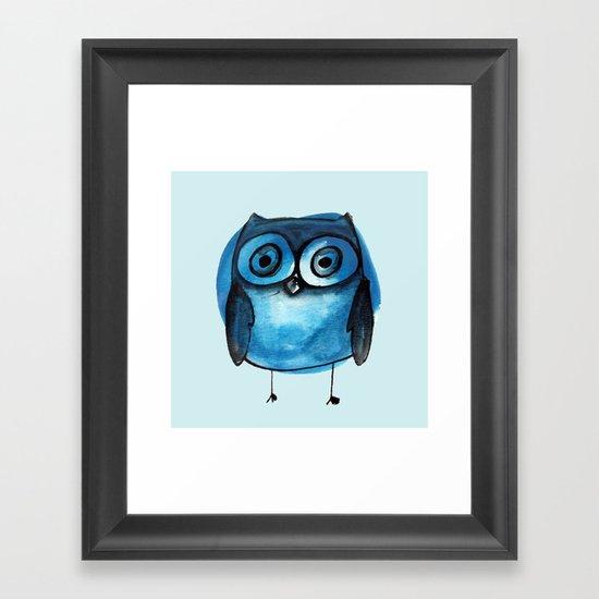 Blue Owl Boy Framed Art Print