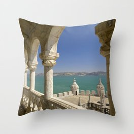 The Torre de Belem tower, view through arches to the river Tejo, Lisbon, Portugal Throw Pillow