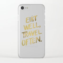 Eat Well Travel Often on Gold Clear iPhone Case