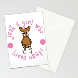 "Stay Pink Cute and adorable with this tee! ""Just A Girl Who Loves Okapi"" tee design. Nice gift too! Stationery Cards"