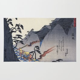 Hiroshige Travellers on a Mountain path at night Rug