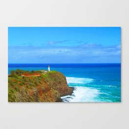 lighthouse on the green mountain with blue ocean and blue sky view at Kauai, Hawaii, USA Canvas Print