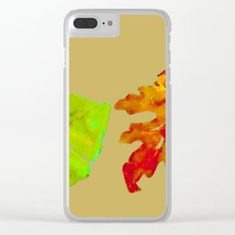 Fall Leaves, tan orange green gold, acrylic painting and digital Clear iPhone Case