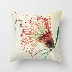 Nodding Pincushion Botanical Blueprints Throw Pillow
