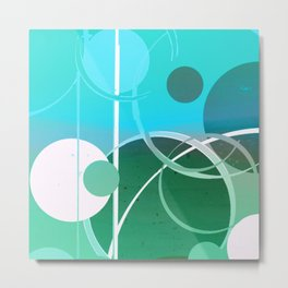 Turquoise Green Ombré Circle Abstract Design 2 Metal Print