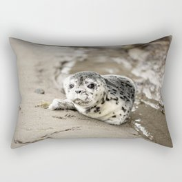 Baby Seal Pup On Sandy Beach Rectangular Pillow