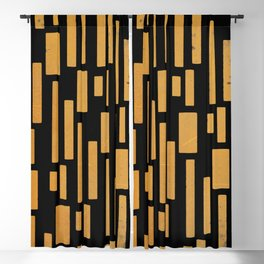 Abstract Bamboo Black Gold Mid-Century Modern Blackout Curtain