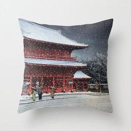 Kawase Hasui - Snow over Zojoji Temple (Shiba, Tokyo) (1953) Throw Pillow