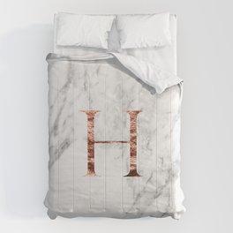 Monogram rose gold marble H Comforters