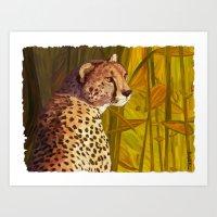 cheetah Art Prints featuring Cheetah by Michelle Behar