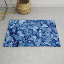 Stone Washed Denim:Original Abstract Alcohol Ink Painting Rug