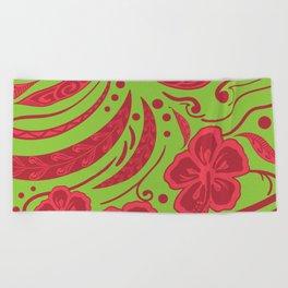 Samoan Polynesian Floral Beach Towel