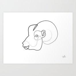 Oneline Ram Art Print