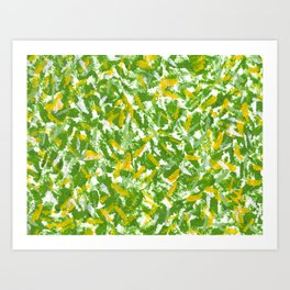 Green, Yellow and White Abstract Gouache Painting Art Print