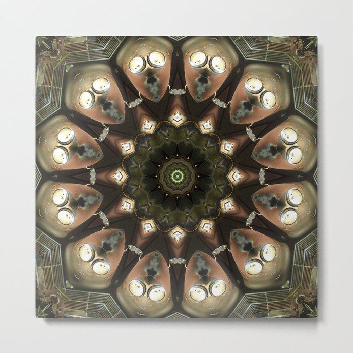 Rusty Alien Head Mandala Metal Print