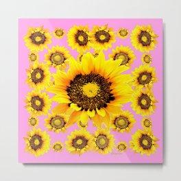 Pink Art Yellow Stylized Sunflowers Pattern Metal Print