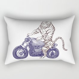 Tiger on a Motorcycle Rectangular Pillow