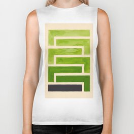 Sap Green Geometric Watercolor Painting Biker Tank