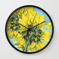 alisa burke Wall Clocks featuring The sunflowers moment by anipani