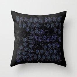 Blue circle on black Throw Pillow