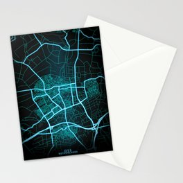 Oss, Netherlands, Blue, White, Neon, Glow, City, Map Stationery Cards