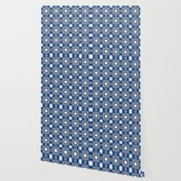 Blue white and grey square floral Wallpaper