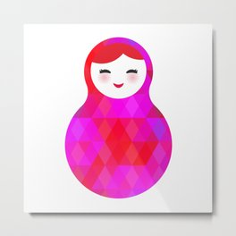 Russian doll matryoshka screw up one's eyes with bright rhombus on white background, pink colors Metal Print