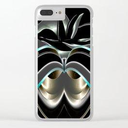 Abstrakt - Lilie schwarz grau Clear iPhone Case