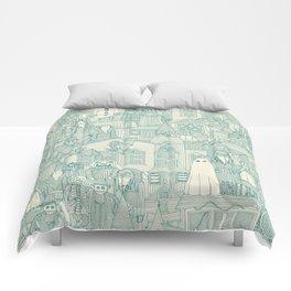 vintage halloween teal ivory Comforters
