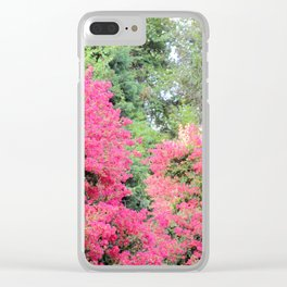 Surrounded by Pink Flowers Clear iPhone Case