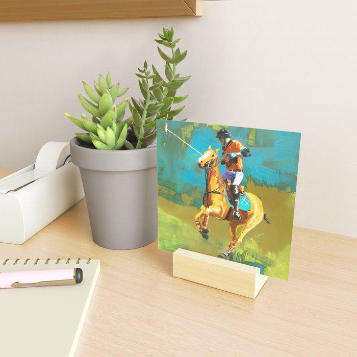 poloplayer abstract turquoise ochre Mini Art Print