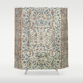 Central Persia Old Century Authentic Colorful Muted Dusty Cream Grey Vintage Rug Pattern Shower Curtain
