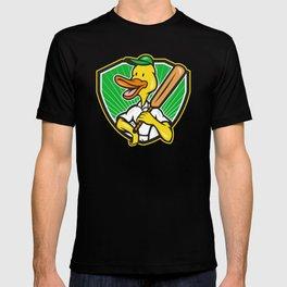 Duck Cricket Player Batsman Cartoon T-shirt