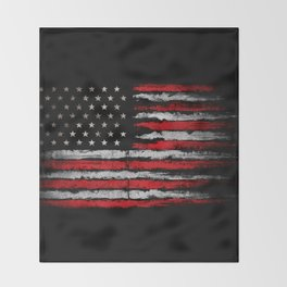 Red & white Grunge American flag Throw Blanket