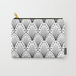 linocut 20s art deco pattern minimal black and white printmaking art Carry-All Pouch
