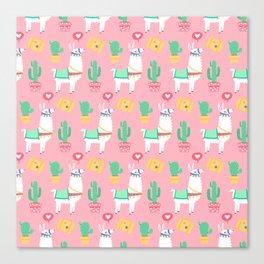 Cute Alpaca & Cactus Pattern Canvas Print