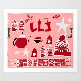 winter gear pink Art Print