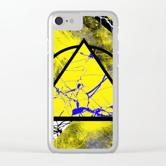 Night And Day - Blue And Yellow, Black And White, Abstract, Geometric, Marble Artwork Clear iPhone Case
