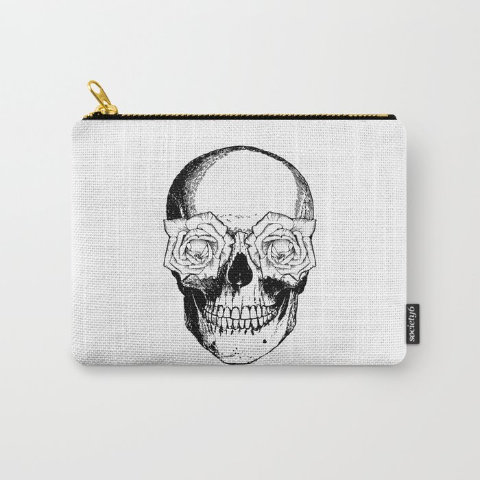 Skull and Roses | Black and White Carry-All Pouch