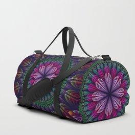 Summer mandala with fantasy flower and petals Duffle Bag