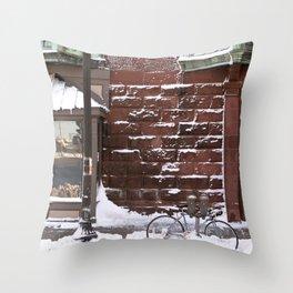 Snowy Bike Throw Pillow