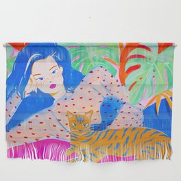 Girl Relaxing with Cat Wall Hanging