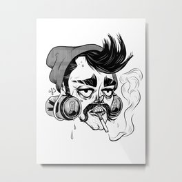 Hipster Trash Dude Metal Print