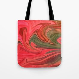 Red And Green Marble Tote Bag