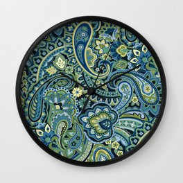 Paisley Forest Green Wall Clock