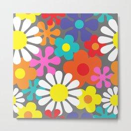 Retro Hippie Flowers Pattern on Grey Metal Print