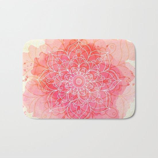 Pink Watercolor Mandala #lifestyle #society6 Bath Mat
