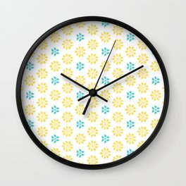 Spring Yellow Blue Flower Pattern Wall Clock